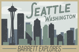 Barrett Explores Seattle postcard with Seattle skyline