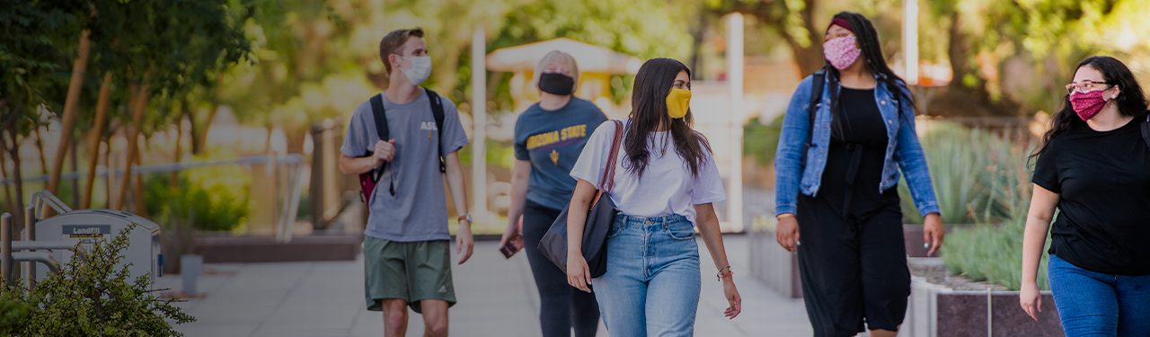 Students on campus with masks