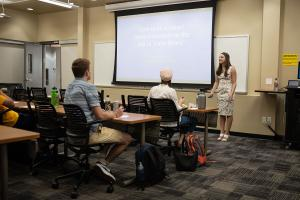 Students attend a How to spot fake news workshop