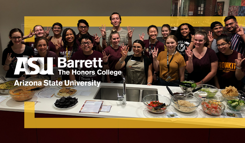 Students at a cooking class for Mindful Monday