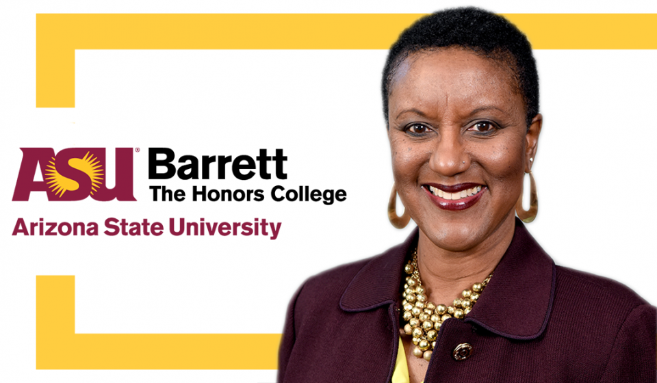 Image of Olga Davis with the Barrett Logo