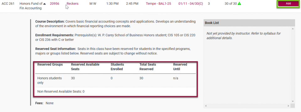 ASU Course Catalog - Reserved Seats and Add Course
