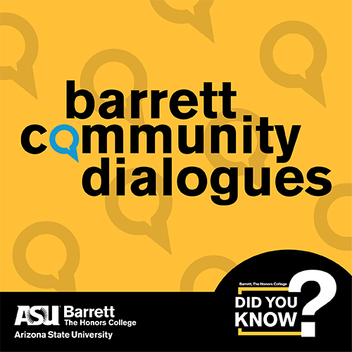 Graphic with text Barrett Community Dialogues