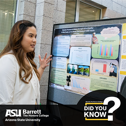 Image of student in front of a presentation poster