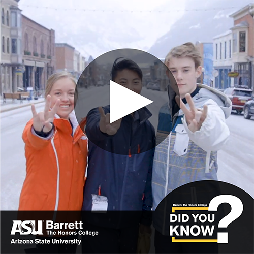 Students on a ski trip with video player control overlay