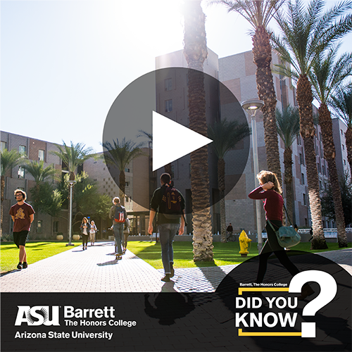 Students walking on Tempe campus with video player button overlay