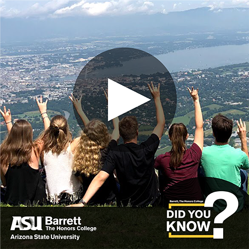 Students on a mountain top with video player control overlay