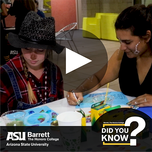 Students in costume and coloring, overlaid with video player controls