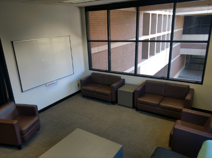 The Rosalind Franklin Study Room has a whiteboard with comfortable chairs and couches