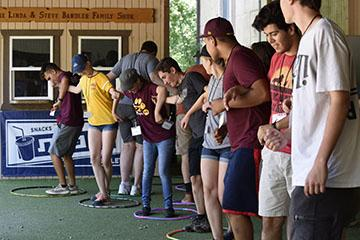 Barrett students taking part in a team building exercise at Camp B